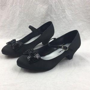 NEW Nina Satin Dress Shoes Girl's BLACK Heels NWT